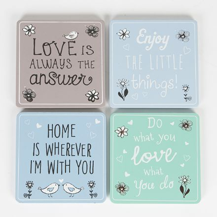 20% OFF Set of 4 Pastel Coasters - Flowers & Birds